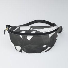 Monstera Leaves Black & White Vibes #1 #minimal #decor #art #society6 Fanny Pack