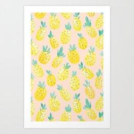 Watercolour Pineapples on Peach Art Print