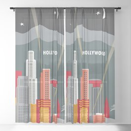 Los Angeles, California - Skyline Illustration by Loose Petals Sheer Curtain