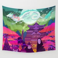spirited away Wall Tapestries featuring Spirited Away by Jen Bartel