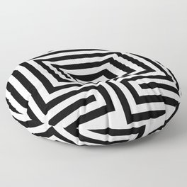 Cretan labyrinth in black and white Floor Pillow