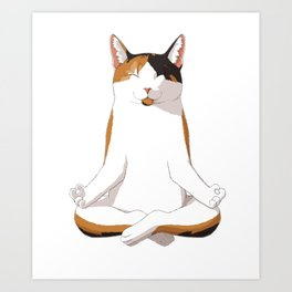 Yoga Calico Cat Gift Idea Art Print