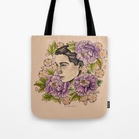 bjork Tote Bags featuring Bjork by alxbngala