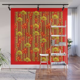 Red Oriental Style Poppies & Daffodils Pattern Wall Mural
