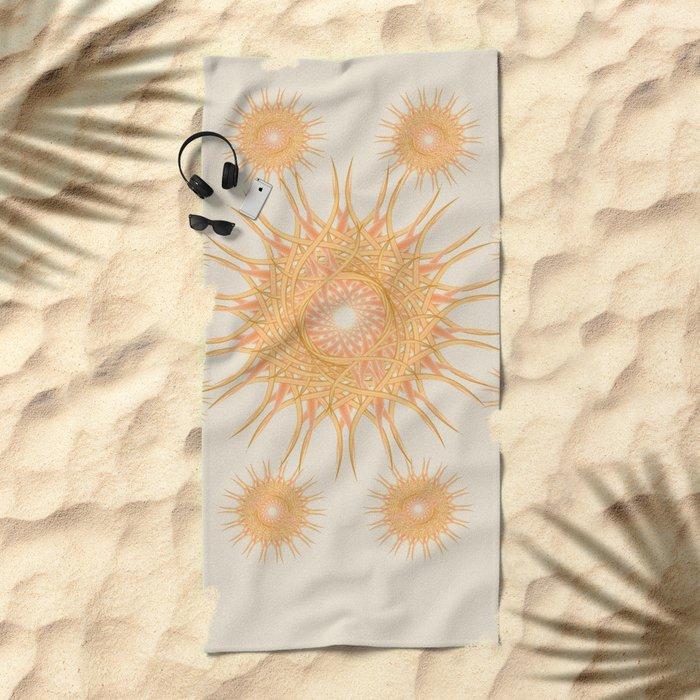 Mandala peach and orange Beach Towel