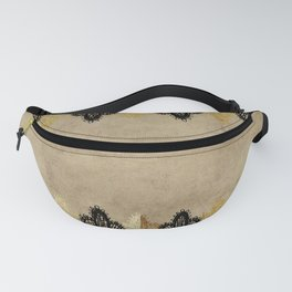 Elegance- Ornament black and gold lace on grunge paper backround Fanny Pack
