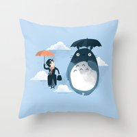 faces Throw Pillows featuring The Perfect Neighbor by Anna-Maria Jung