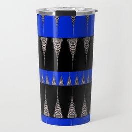Chrysler Building Pattern in Blue and Black Travel Mug