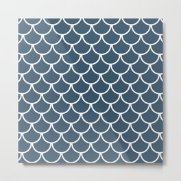 Dusky Blue Fish Scales Pattern Metal Print