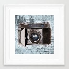 Blue Vintage Camera Art Framed Art Print