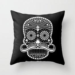 Black Skull  White Suits Throw Pillow