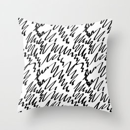 Scribble pattern black and white Throw Pillow