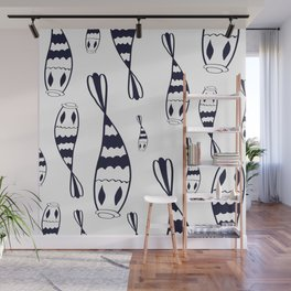 Mystical black and white fish pattern // Art Deco style pattern Wall Mural