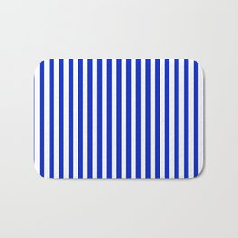 Cobalt Blue and White Vertical Deck Chair Stripe Bath Mat