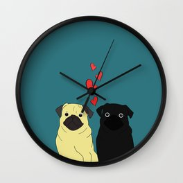 Pugs In Love Wall Clock