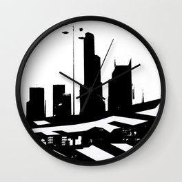 City Scape in Black and White Wall Clock