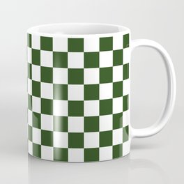 Large Dark Forest Green and White Check Squares Coffee Mug