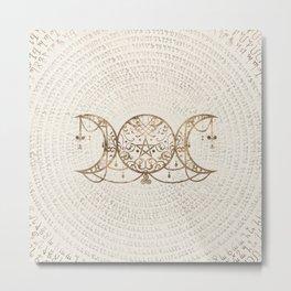Triple Moon - Triple Goddess Pastel Gold Metal Print