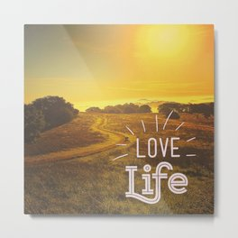 sunset, Love Life, Meandering Path, Golden, Gold, Fog, Landscape, Sonoma County, wine country, Calif Metal Print