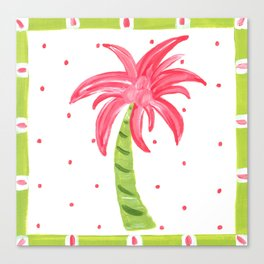 Pink Palm Beach Art Canvas Print