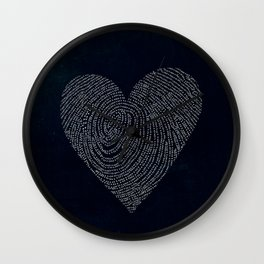 Coded heartprint - dark print Wall Clock