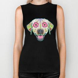 Labrador Retriever - Yellow Lab - Day of the Dead Sugar Skull Dog Biker Tank
