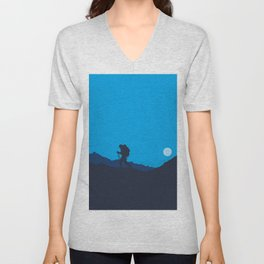 Hiker At Blue Winter Night Unisex V-Neck