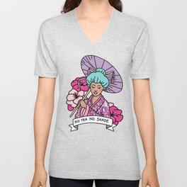 No Tea No Shade Sassy Feminist Bey Geisha Kawaii Print Unisex V-Neck