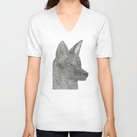 coyote V-neck T-shirts featuring Coyote by Amber Lundy Leigh