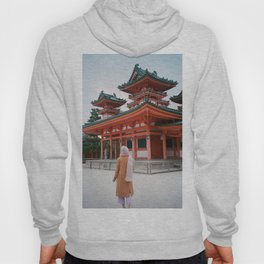 Girl at the Heian Shrine in Kyoto, Japan in Winter - 35 mm Film Photograph Hoody