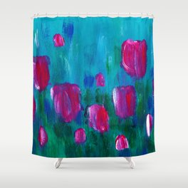 Tulips - Fields - Flowers - Spring Shower Curtain