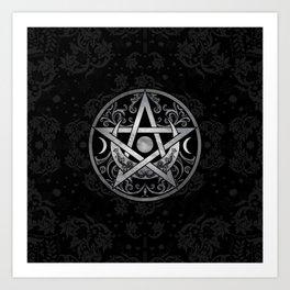 Pentagram Ornament - Silver and Black Art Print