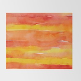 Watercolor Pattern Abstract Summer Sunrise Sky on Fire Throw Blanket