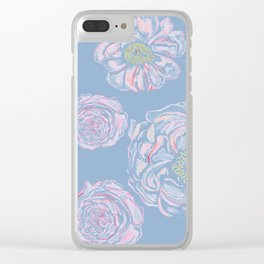 Abstract Flowers Blue #society6 #buyart Clear iPhone Case