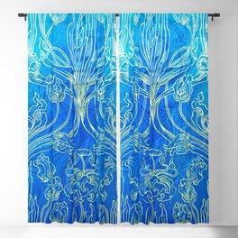 Blue,art nouveau, floral,belle epoque,vintage,chic,pattern,William Morris,Victorian,shabby chic,beau Blackout Curtain