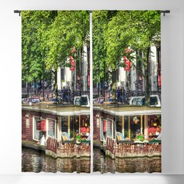 Amsterdam Houseboat on Canal Blackout Curtain