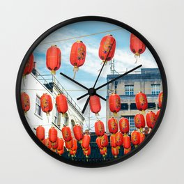 Red Chinese Lampions Wall Clock