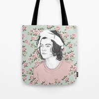 coconutwishes Tote Bags featuring H circle floral  by Coconut Wishes