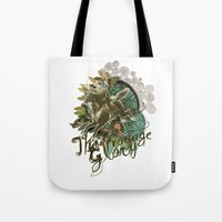 voyage Tote Bags featuring VOYAGE by TOO MANY GRAPHIX