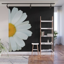 Hello Daisy - White Flower Black Background #decor #society6 #buyart Wall Mural