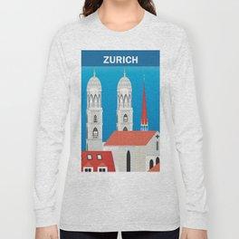 Zurich, Switzerland - Skyline Illustration by Loose Petals Long Sleeve T-shirt