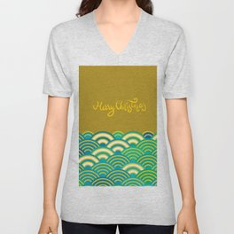 Seigaiha or seigainami literally means wave of the sea. Merry Christmas card Unisex V-Neck