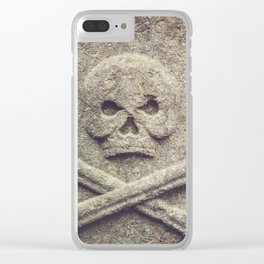Skull and bones on a tomb Clear iPhone Case
