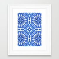 bedding Framed Art Prints featuring Cobalt Blue & China White Folk Art Pattern by micklyn