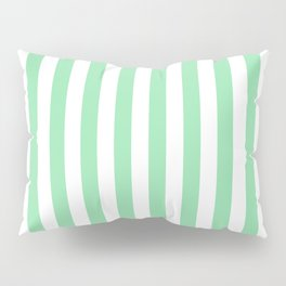 Large Mint Green and White Vertical Cabana Tent Stripes Pillow Sham