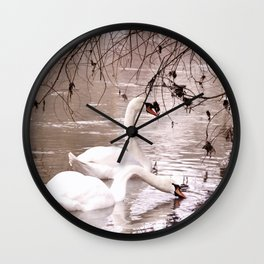Swans friendship Wall Clock
