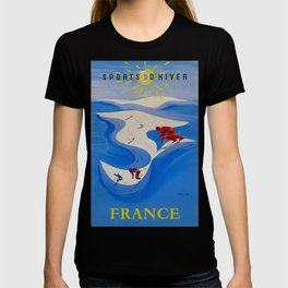 Vintage Winter Sports in France Travel T-shirt