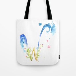 Letter W watercolor - Watercolor Monogram - Watercolor typography - Floral lettering Tote Bag