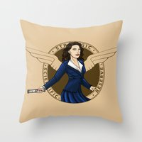 agent carter Throw Pillows featuring Agent Carter by Arania