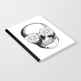 Skull and Roses | Skull and Flowers | Vintage Skull | Black and White | Notebook